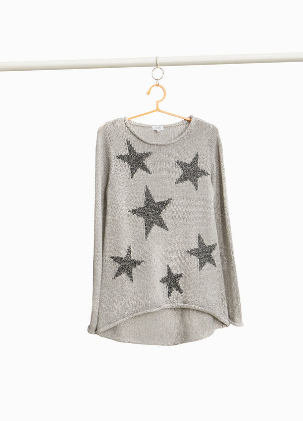Pullover mit Lurex Aufdruck Sterne