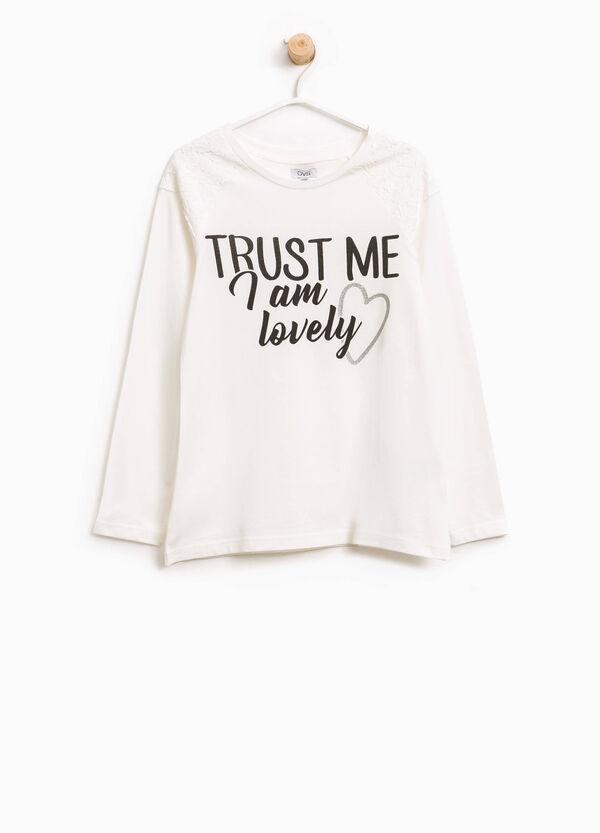 T-Shirt aus Baumwolle bedruckt mit Spitze | OVS