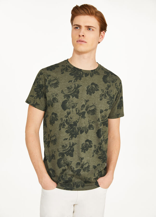 T-Shirt Baumwollmix floraler Print