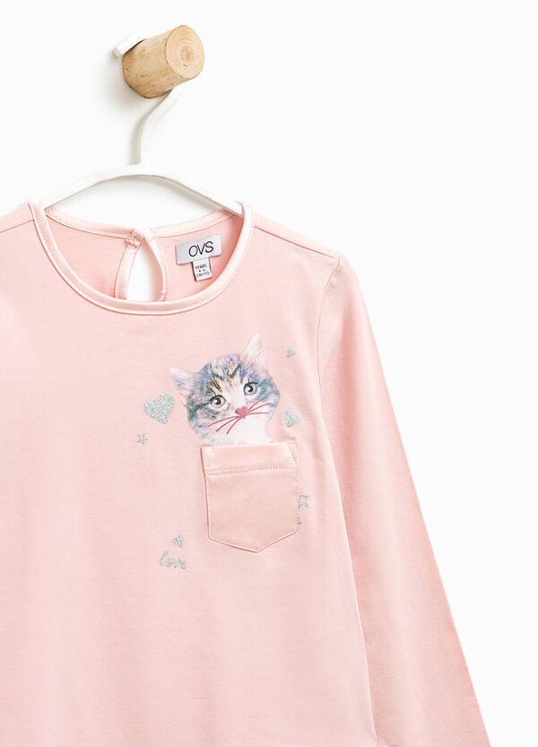 T-Shirt mit Aufdruck und Tasche   OVS