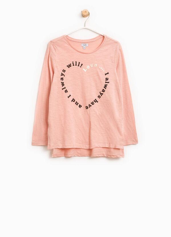 T-Shirt aus Baumwolle mit Glitter-Aufdruck | OVS