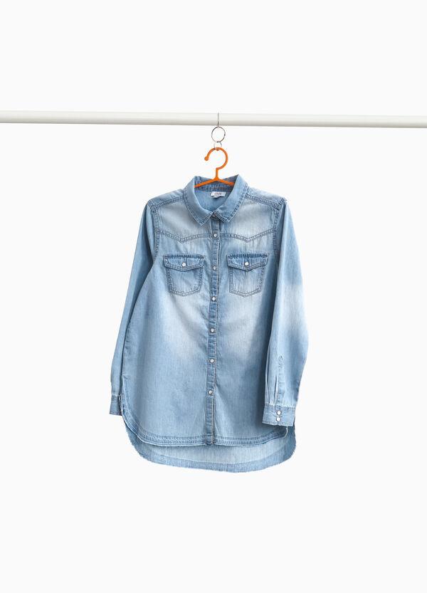 Jeans-Hemd mit Washed-out-Effekt