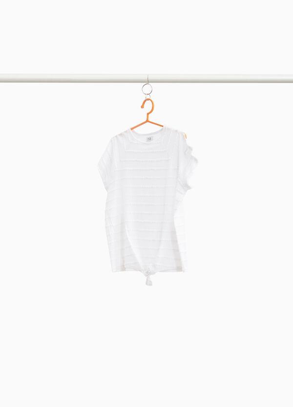 T-Shirt mit gewellten Einsätzen gestreift