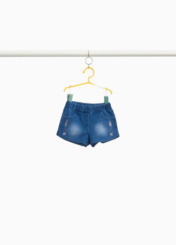 Stretch-Jeans-Shorts mit Strass