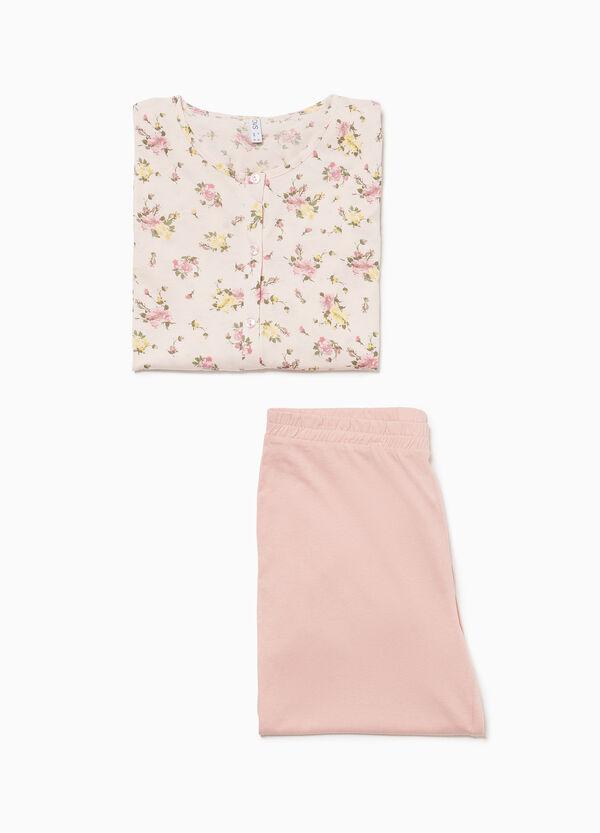 Pyjama reine Baumwolle Blumenmuster