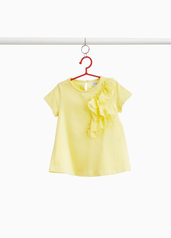 T-Shirt Baumwollstretch mit Volant