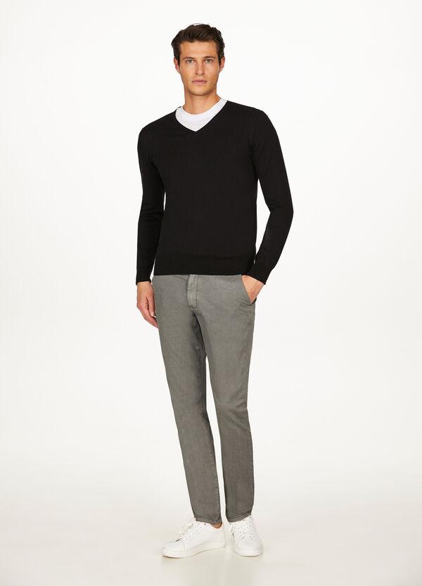 Pullover reine Baumwolle mit V-Ausschnitt