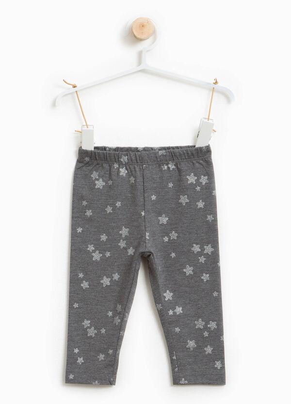 Leggings Baumwollstretch Aufdruck mit Sternen