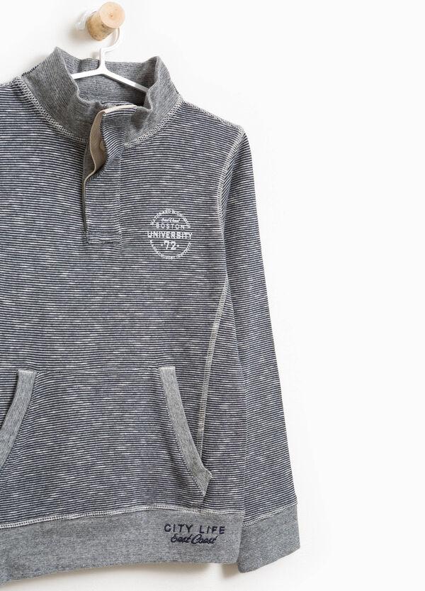 Sweatshirt reine Baumwolle Stehkragen gestreift | OVS