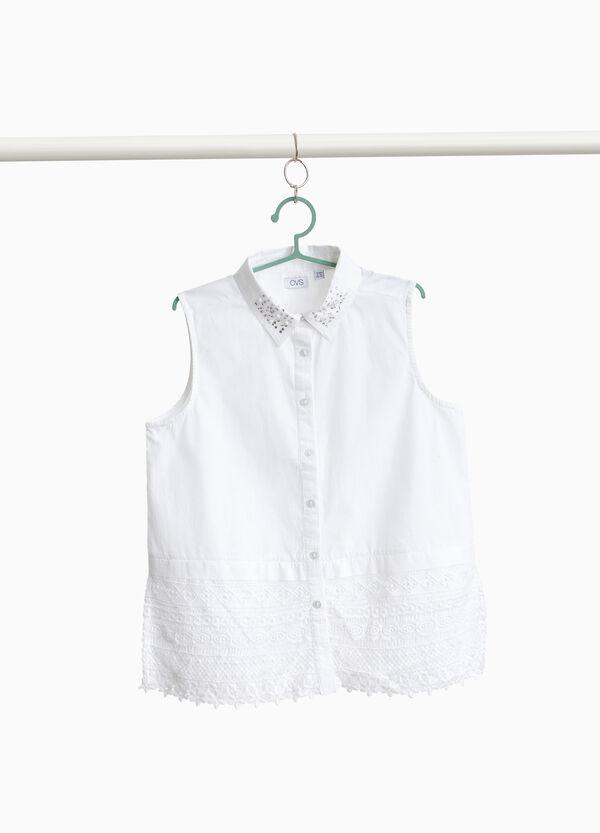 Ärmelloses Hemd Stretchqualität mit Strass