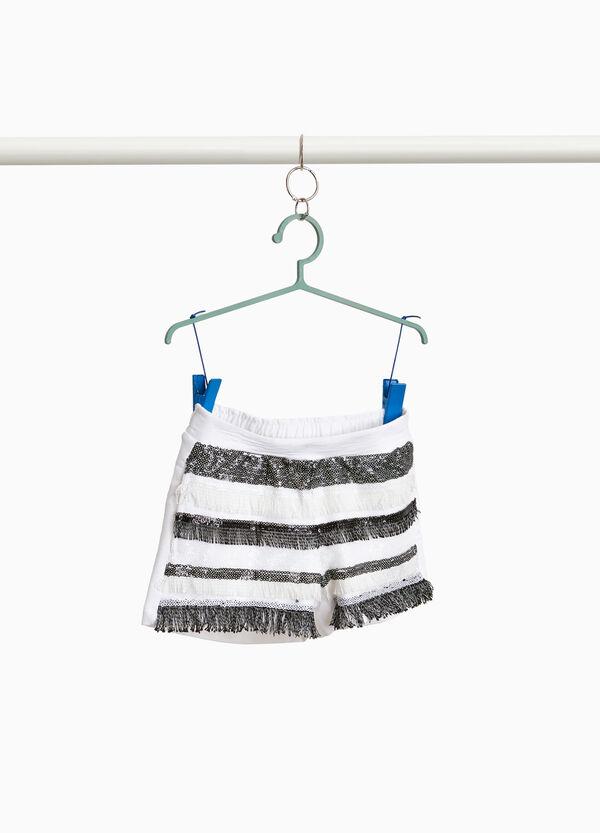 Shorts Baumwollstretch mit Pailletten