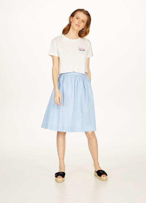 Crop-T-Shirt reine Baumwolle bestickt