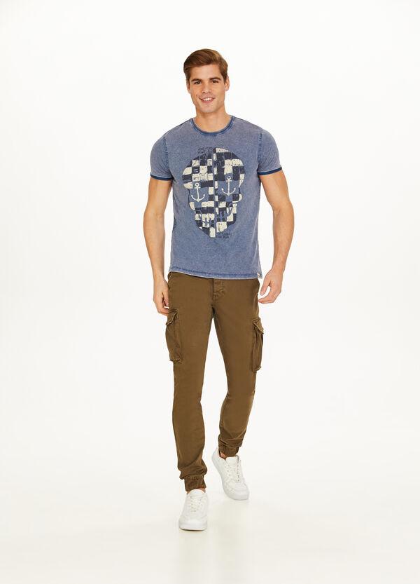 T-Shirt Baumwolle Effekt-Färbung Aufdruck Totenkopf