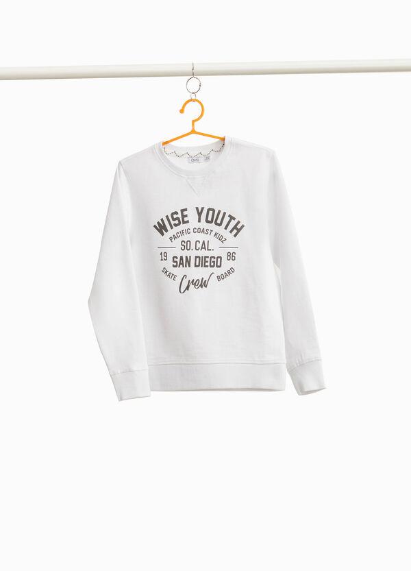 Sweatshirt aus reiner Baumwolle Buchstabenaufdruck