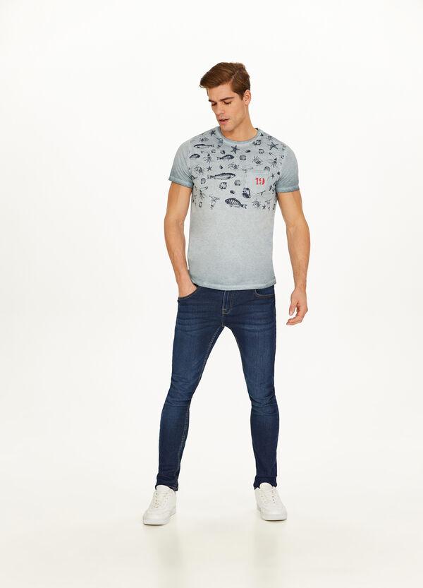 T-Shirt reine Baumwolle Marine-Print