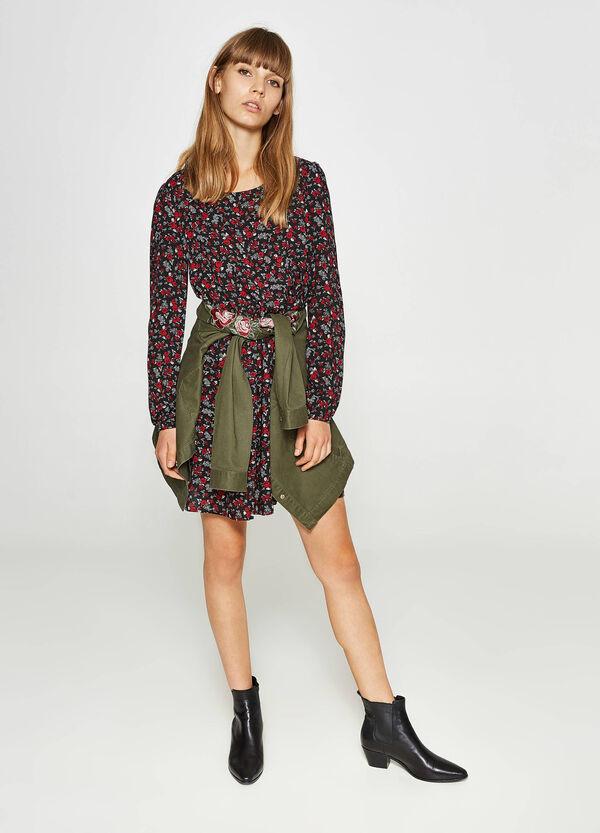 Kleid aus reiner Viskose mit All-over-Aufdruck | OVS