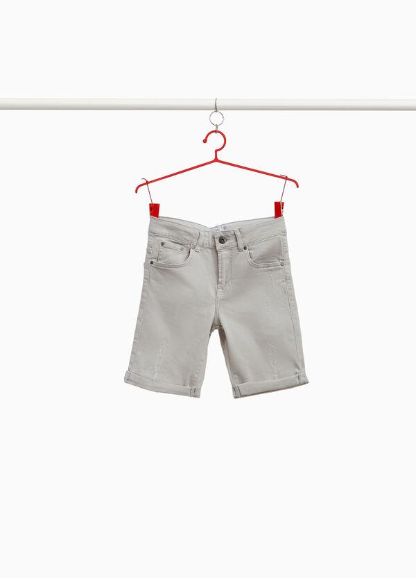 Stretch-Jeans-Bermuda mit Destroyed-Stellen
