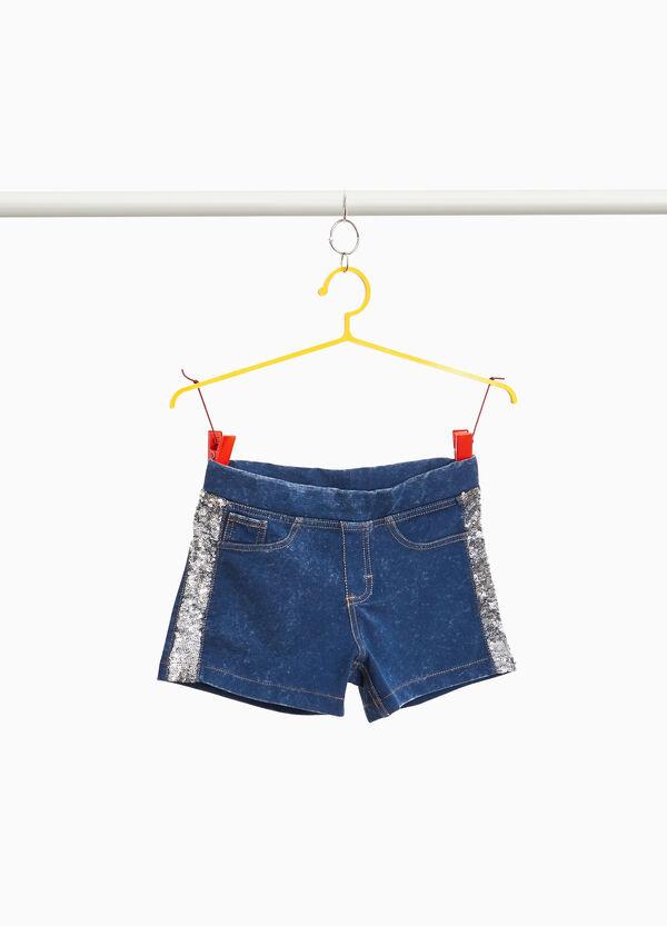 Jeans-Stretch-Shorts mit Pailletten