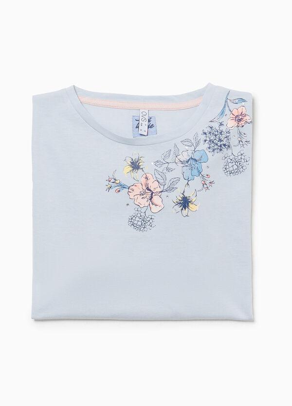 Pyjama-Shirt reine Baumwolle floral