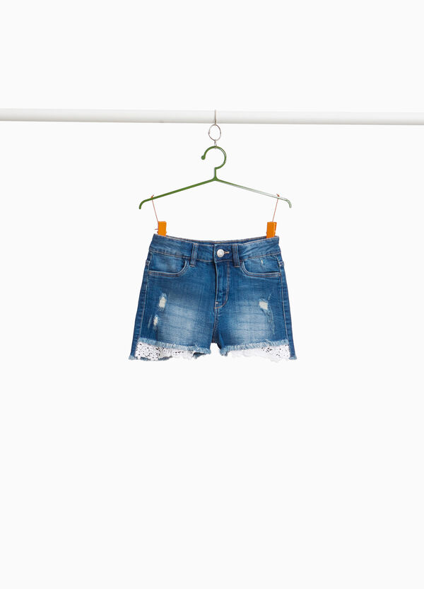 Stretchjeans-Shorts Used mit Spitze