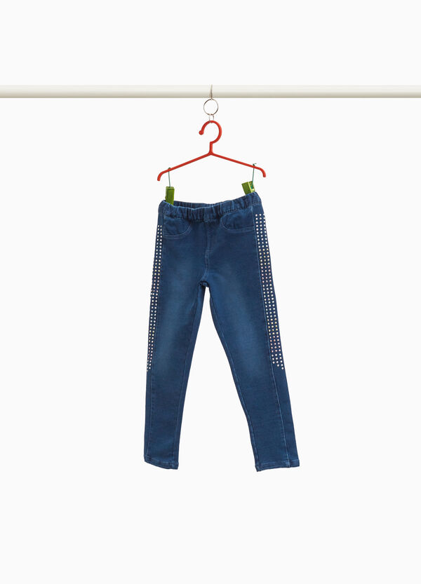 Stretch-Jeggings Washed-out mit Nieten