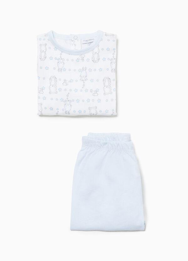 Pyjama reine Baumwolle Tierbabys und Sterne