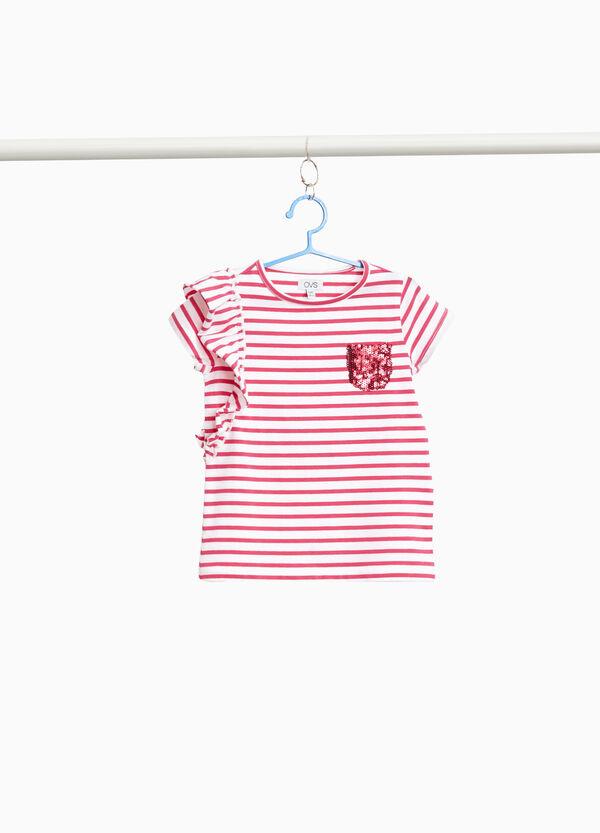 T-Shirt Baumwollstretch gestreift und Volant