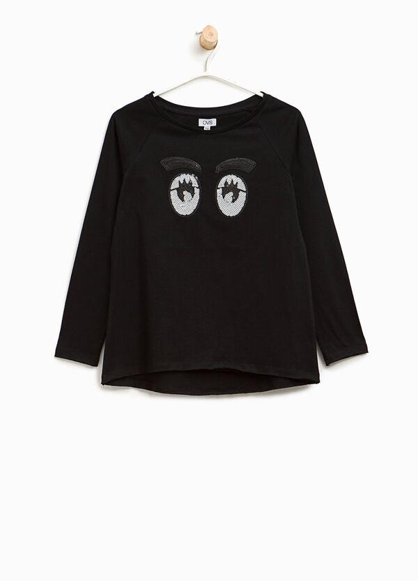 T-Shirt aus Baumwolle mit Pailletten Augen | OVS