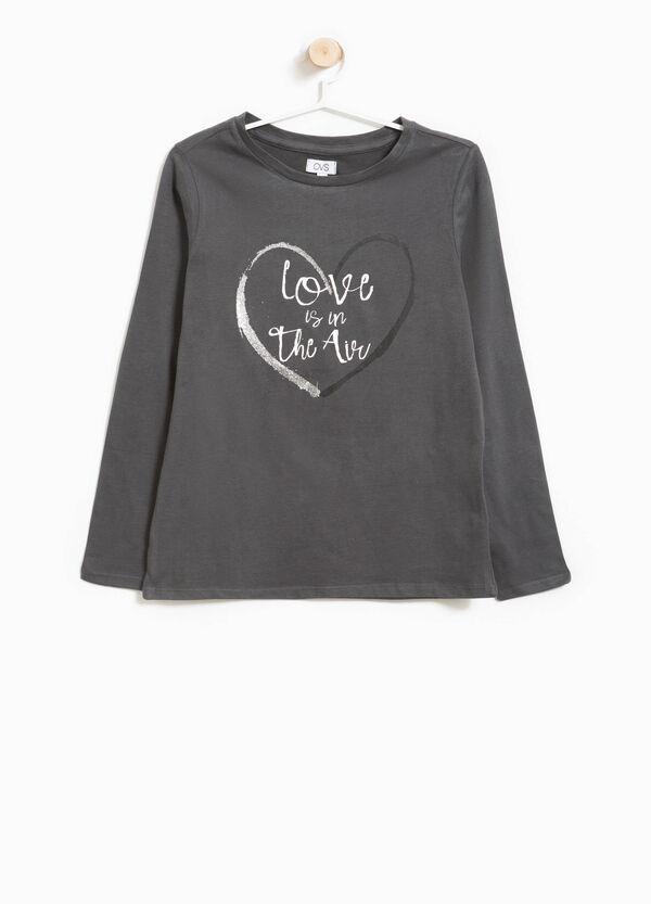 T-Shirt aus Baumwolle Glitter-Buchstabenaufdruck | OVS