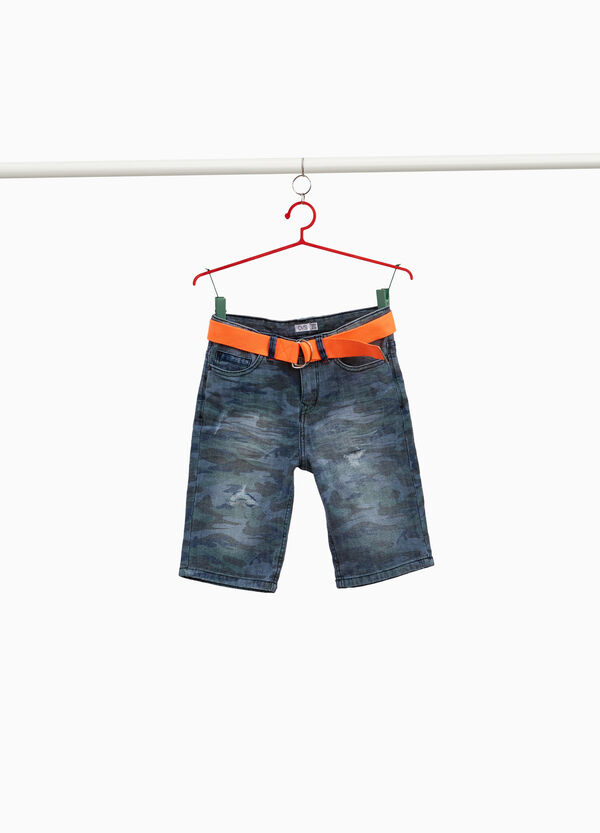 Jeans-Bermuda Destroyed-Elemente Camouflage