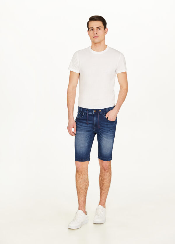 Jeans-Bermuda Slim Fit Used-Effekt