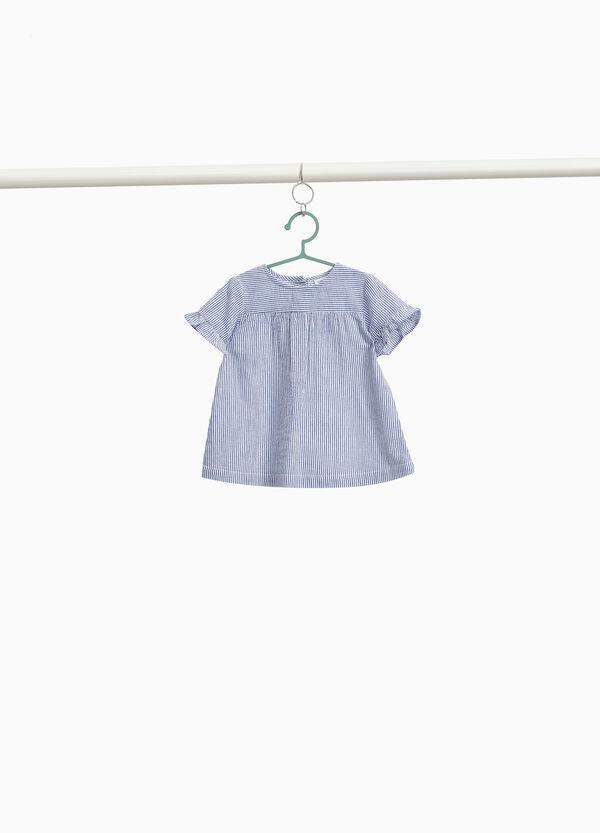 Hemdbluse Baumwolle gestreift mit Volant
