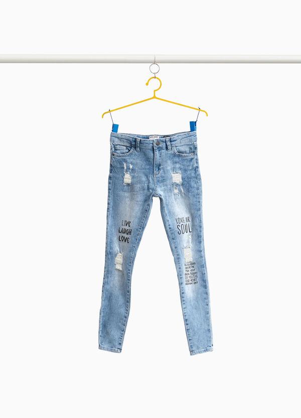 Jeans Super Skinny Fit Effekt-Färbung bedruckt