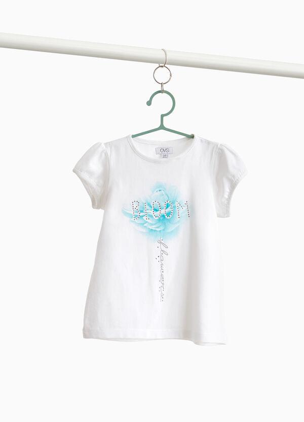 T-Shirt Baumwollstretch Aufdruck und Strassbesatz