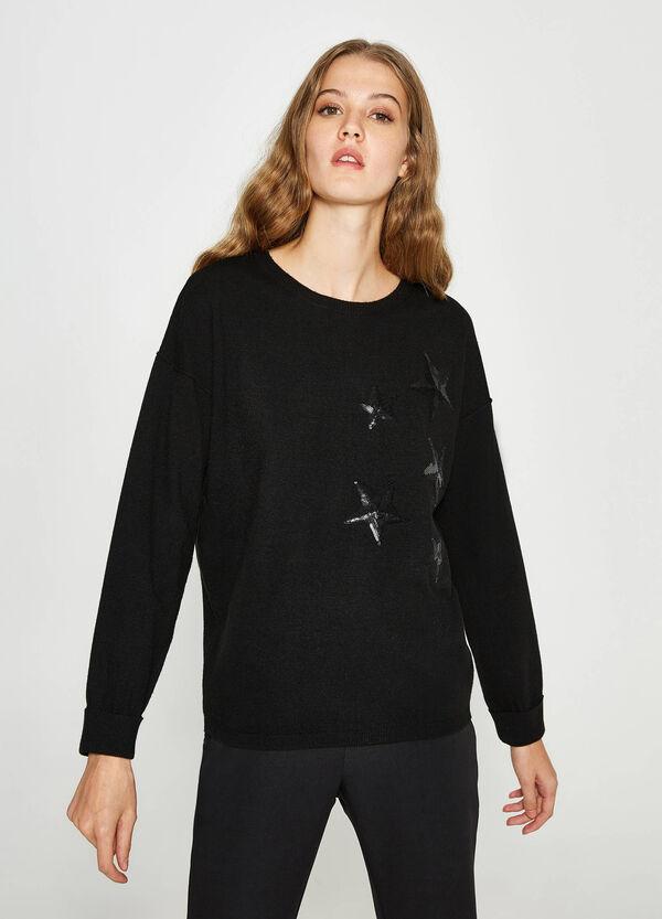 Pullover Wolle Pailletten in Sternform   OVS