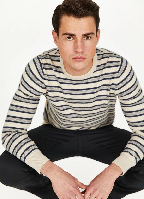 Trikot-Pullover aus Baumwolle mit Streifenmuster