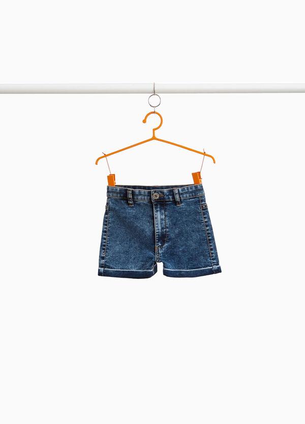 Shorts aus Jeansstretch Effekt-Färbung