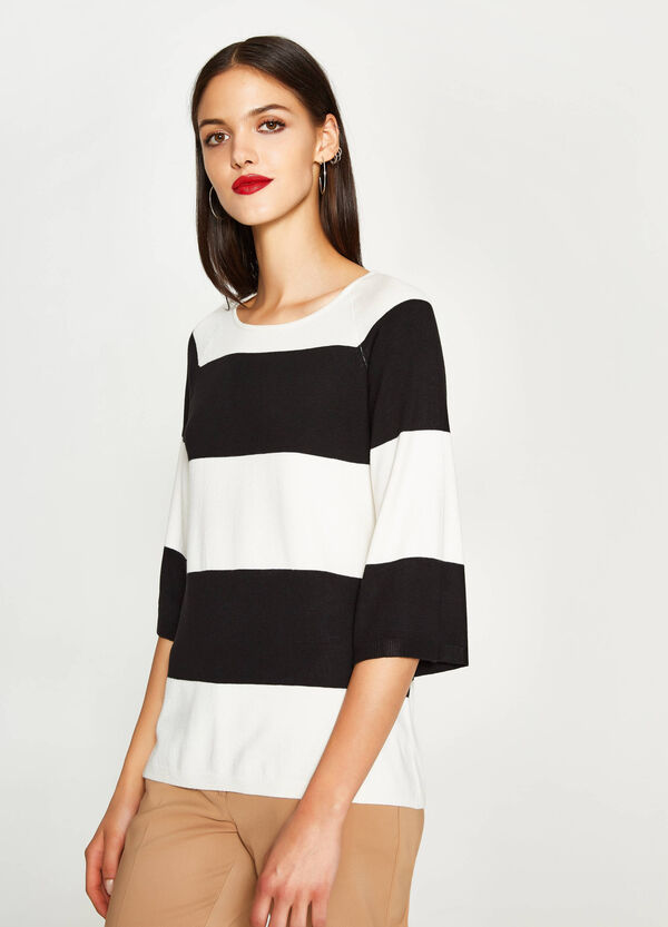 Gestreifter Pullover mit Dreiviertelärmeln | OVS