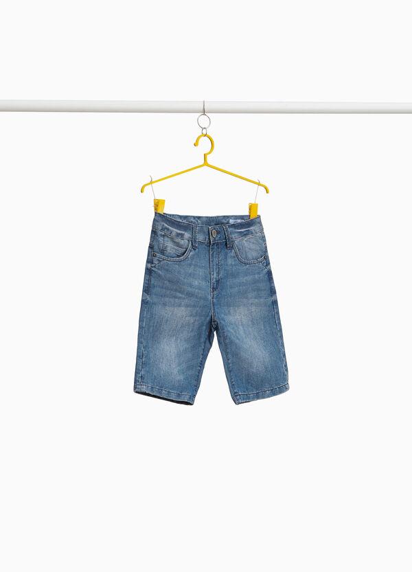 Jeans-Bermuda Washed out-Effekt entfärbte Optik