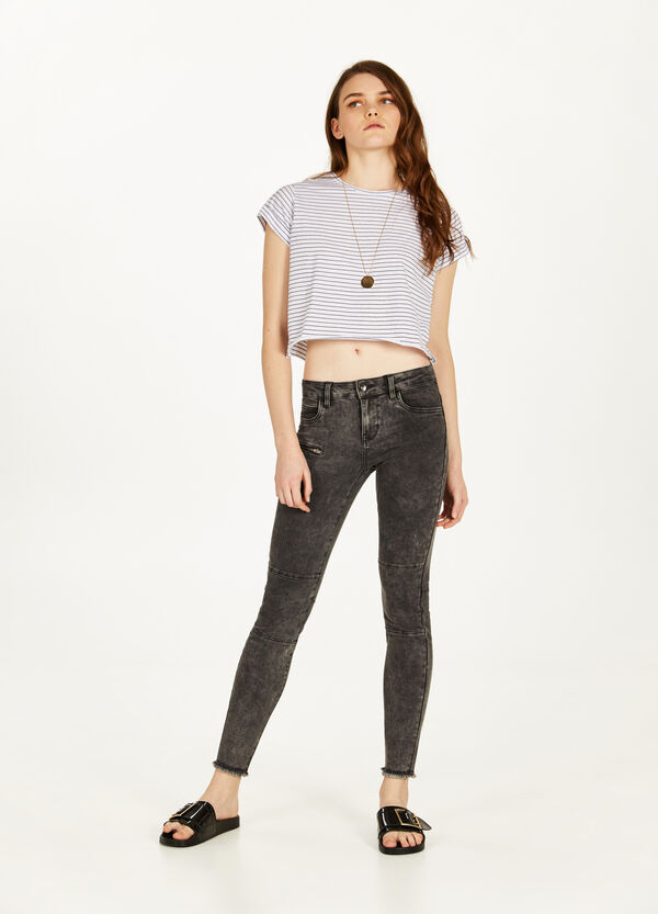 Stretch-Jeans Skinny Fit Effekt-Färbung
