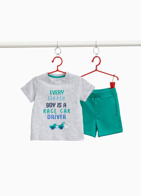 Garnitur T-Shirt kurze Hosen meliert