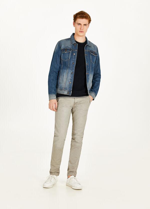 Jeans-Blouson mit entfärbter Optik