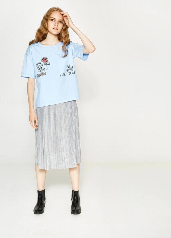 T-Shirt aus Baumwolle mit Aufdruck und Tasche