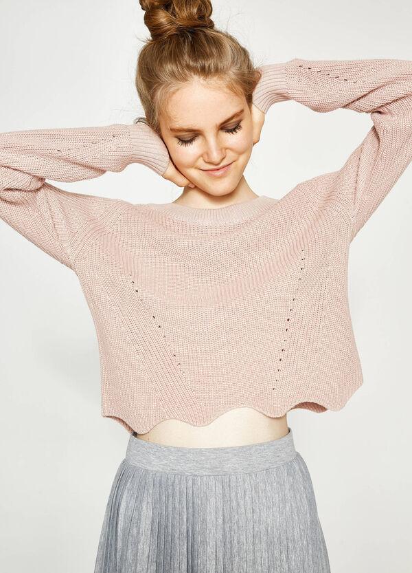 Trikot-Pullover mit gewelltem Saum | OVS