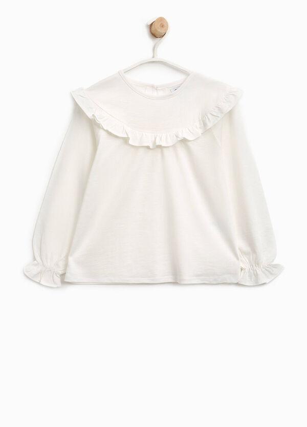 T-Shirt aus reiner Baumwolle mit Volant   OVS