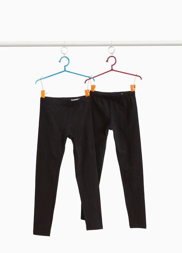 Set zwei einfarbige Leggings Baumwolle