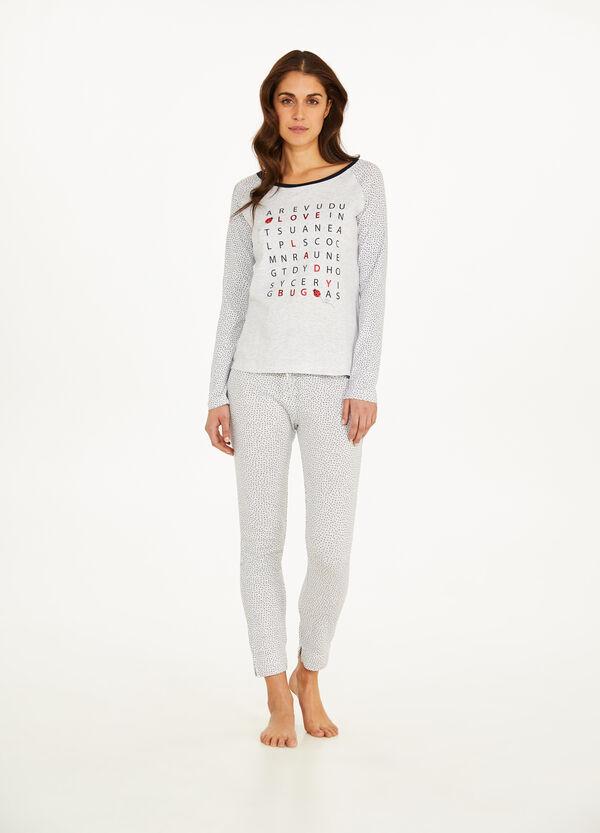 Pyjama Baumwolle Viskose mit Tupfen