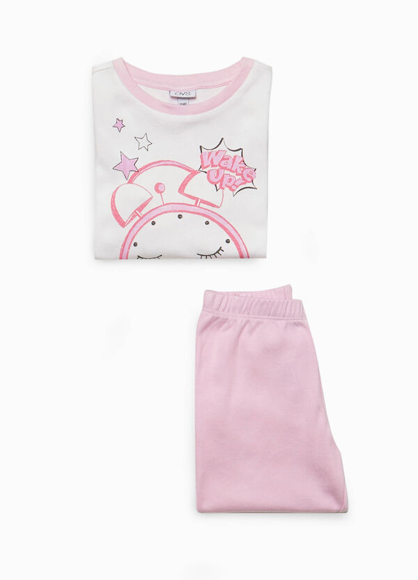 Pyjama reine Baumwolle Print Uhr