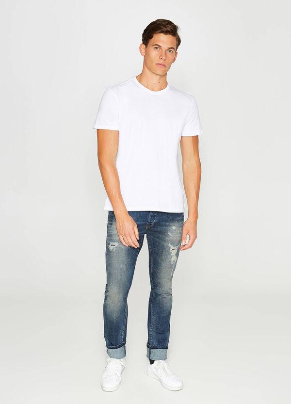 Stretch-Jeans Slim Fit mit Used-Effekt und Destroyed-Stellen