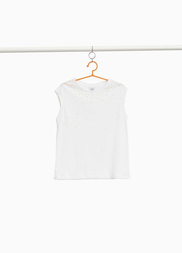 T-Shirt reine Baumwolle mit Perlen